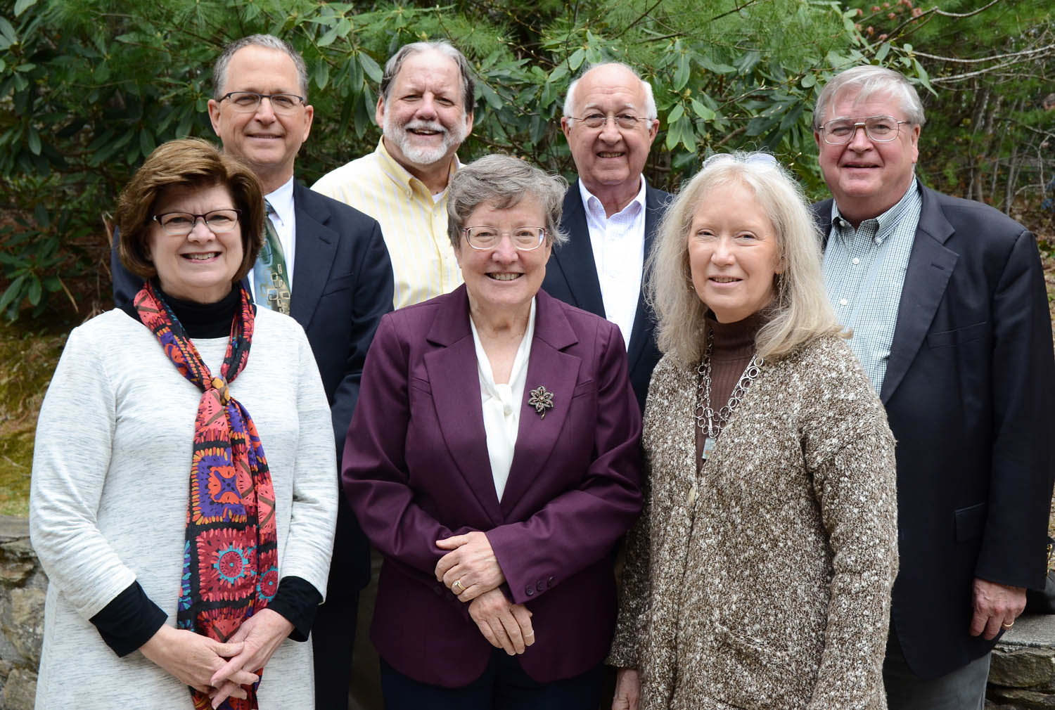 The Rev. Judy Knopf, the Rev. David Guthrie, the Rev. Jeff Coppage, the Rev. Nola Knouse, Tommy Cole, Peggy Carter and Keith Kapp.
